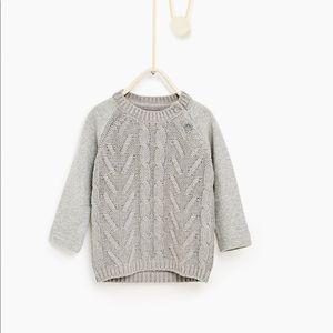 Zara baby grey knit sweater. New 9-12 months
